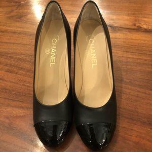 Chanel round cap toe heels 37.5